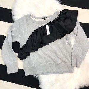 J.Crew Gray Sweatshirt Black Asymmestrical Ruffle